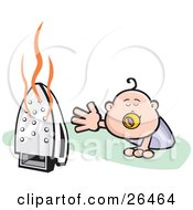 Clipart Illustration Of A Crawling Baby Reaching For A Dangerous Hot Iron That Was Left On