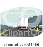Clipart Illustration Of A Big Rig Truck Driving In The Slow Lane Behind Other Trucks On The Highway