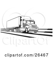 Clipart Illustration Of A Big Rig Truck Speeding Along The Interstate Black And White by David Rey