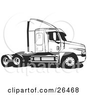 Clipart Illustration Of A Big Rig Truck Without The Cargo Carrier Black And White by David Rey