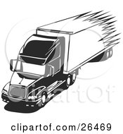 Clipart Illustration Of A Speeding Big Rig Truck Driving On The Highway Black And White by David Rey