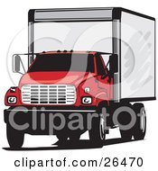 Clipart Illustration Of A Big Red Delivery Truck Parked