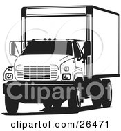Clipart Illustration Of A Big Delivery Truck Parked In Black And White by David Rey