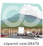 Clipart Illustration Of A Big Rig Truck Driving In The Slow Lane Behind Other Trucks Through The Mountain Pass On The Highway