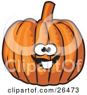 Clipart Illustration Of A Friendly Buck Toothed Orange Pumpkin Character