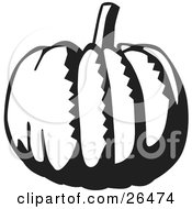 Clipart Illustration Of A Curvy Pumpkin With A Stem In Black And White