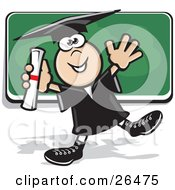 Clipart Illustration Of A Happy Graduate Boy In A Cap And Gown Dancing With His Diploma In Front Of A Chalk Board by David Rey
