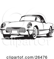Clipart Illustration Of An Old Corvette Car In Black And White