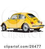 Clipart Illustration Of A Yellow Volkswagen Bug Car