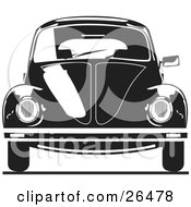 Clipart Illustration Of The Front Of A Volkswagen Bug Car In Black And White