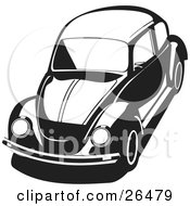 Clipart Illustration Of A VW Agen Bug Car In Black And White