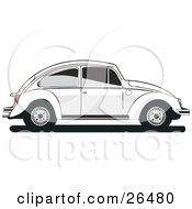 Clipart Illustration Of A White Volkswagen Bug Car In Profile With Tinted Windows by David Rey