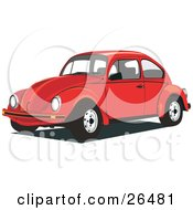 Clipart Illustration Of A Red Volkswagen Beetle Car by David Rey #COLLC26481-0052