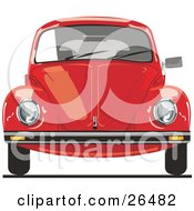 Clipart Illustration Of The Front Of A Red VW Bug Car by David Rey