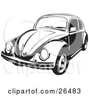 Clipart Illustration Of A Volkswagen Beetle Car In Black And White by David Rey #COLLC26483-0052