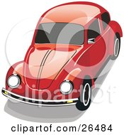 Clipart Illustration Of A Red VW Beetle Car