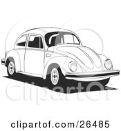 Clipart Illustration Of A Volkswagen Bug Car Driving To The Right In Black And White