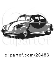 Clipart Illustration Of A Volkswagen Bug Car Driving To The Left In Black And White