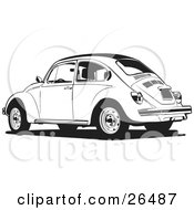 Clipart Illustration Of A Parked Volkswagen Bug Car In Black And White