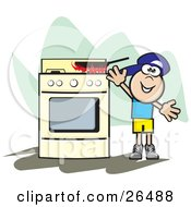Clipart Illustration Of A Little Boy Reaching Up For A Pan On Top Of A Stove With Flames Rising From The Surface by David Rey