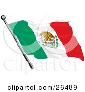 Mexican Flag With The Golden Eagle Cactus And Snake Coat Of Arms