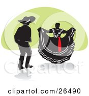 Clipart Illustration Of A Mexican Man And Woman Performing A Folkloric Dance In Mexico by David Rey #COLLC26490-0052
