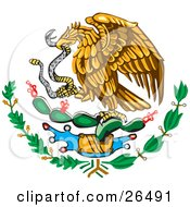Clipart Illustration Of The Mexican Coat Of Arms Showing The Eagle Perched On A Cactus Eating A Snake by David Rey