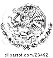 Clipart Illustration Of The Mexican Coat Of Arms Showing The Eagle Perched On A Cactus Eating A Snake In Black And White by David Rey #COLLC26492-0052