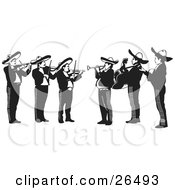 Clipart Illustration Of A Mariachi Band Of Men Playing Violins Trumpets And Guitars In Mexico