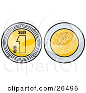 Clipart Illustration Of The Front And Back Side Of A Golden Mexican Peso Showing The Currency On One Side And The Coat Of Arms On The Other by David Rey