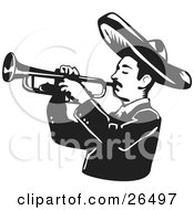 Clipart Illustration Of A Mariachi Band Man Wearing A Sombrero And Playing A Trumpet by David Rey