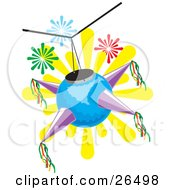 Clipart Illustration Of A Blue And Purple Mexican Pinata Hanging From A Ceiling At A Birthday Or Holiday Party by David Rey #COLLC26498-0052