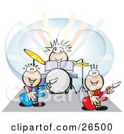 Clipart Illustration Of A Group Of Three Musicians Playing The Drums And Guitars At A Rock Concert