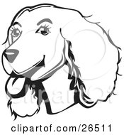 Clipart Illustration Of A Friendly Cocker Spaniel Dog With Its Tongue Hanging Out Of Its Mouth Black And White
