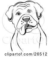 Clipart Illustration Of A Boxer Dog With His Tongue Hanging Out Of His Mouth Black And White by David Rey