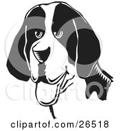Clipart Illustration Of A Friendly American Foxhound Dog Hanging Its Tongue Out Black And White