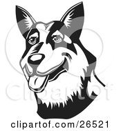 Clipart Illustration Of A Friendly Australian Cattle Dog Hanging Its Tongue Out Black And White