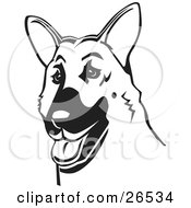 Clipart Illustration Of A Friendly German Shepherd Dog With His Tongue Hanging Out Black And White by David Rey