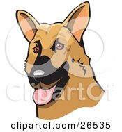 Clipart Illustration Of A Friendly Brown And Black German Shepherd Dog With His Tongue Hanging Out by David Rey