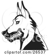Clipart Illustration Of A German Shepherd Guard Dog Growling In Profile Black And White