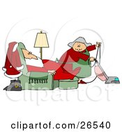 Mrs Claus Vacuuming The Living Room As Santa Sleeps In A Lazy Chair