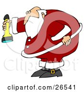 Santa Claus Bending Over Slightly And Shining A Flashlight Downwards
