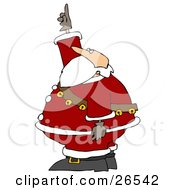Santa In His Suit And A Sash Of Bells Pointing And Looking Upwards