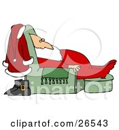 Clipart Illustration Of Santa Claus In His Pjs Dozing In A Green Lazy Chair With His Boots And Suit Behind Him