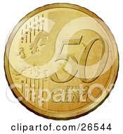 Gold 50 Cent Euro Coin With A Map And Stars