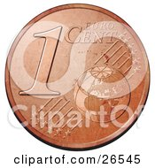 Bronze 1 Cent Euro Coin With A Globe And Stars