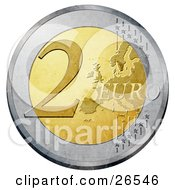 Clipart Illustration Of A Gold And Silver 2 Euro Coin With A Partial Map And Stars