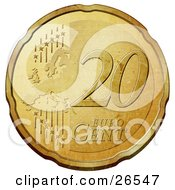 Clipart Illustration Of A Gold 20 Cent Euro Coin With A Map And Stars
