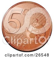 Bronze 5 Cent Euro Coin With A Globe And Stars