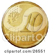Gold 10 Cent Euro Coin With A Map And Stars